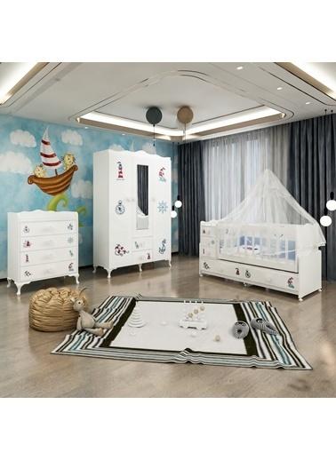 Garaj Home Garaj Home Melina Denizci Bebek Odası Takımı - Yatak Ve Uyku Seti Kombinli/ Uyku Seti Pembe Pembe